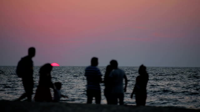 People resting on the beach at sunset video