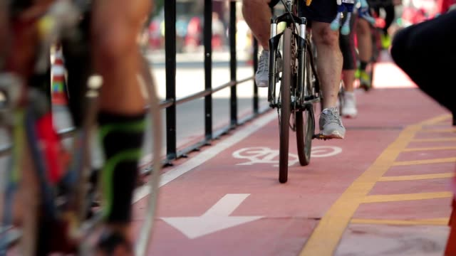 People riding bikes on exclusive bike lane video