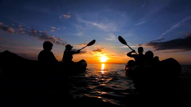 TS People Sea Kayaking At Sunset video