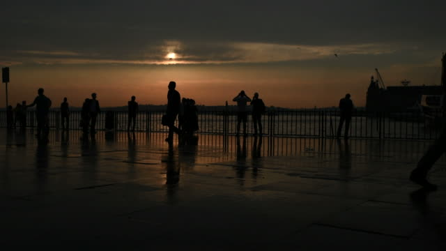 People Silhouettes at Sunset in Istanbul video
