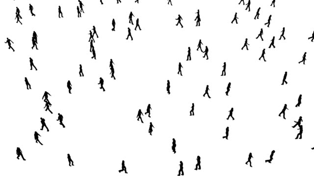 People silhouettes on white, great design for any purposes. Happy silhouette. 4k