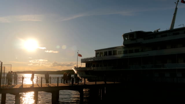 People silhouettes walking on pier video