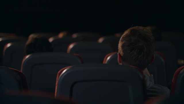 People sitting in cinema. Back view. Napes of spectators sitting in theatre Napes of spectators sitting in theatre. Back view of cinema people sitting in chairs. Spectators waiting for beginning of play in theater. Panoramic view of movie people waiting film beginning lounge chair stock videos & royalty-free footage