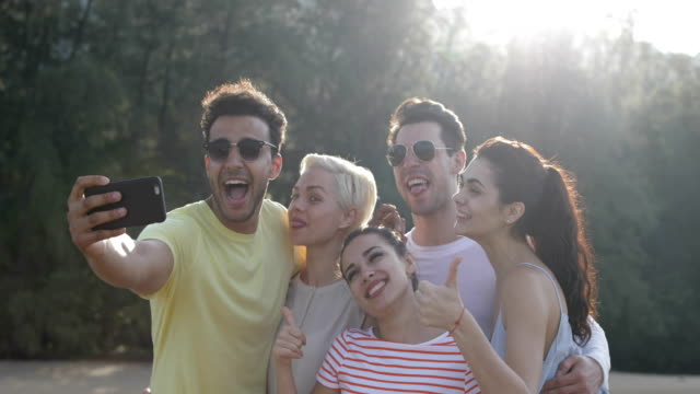 People Taking Selfie Photo Grimacing Outdoors In Park, Young Friends Group Posing Natural Light video
