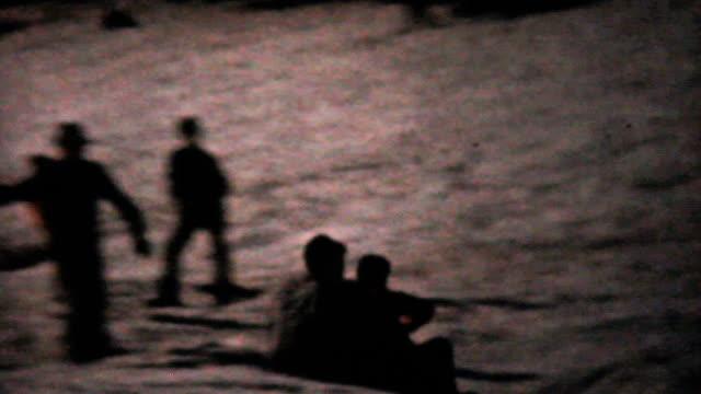 People Tobogganing In Winter-1961 Vintage 8mm film video