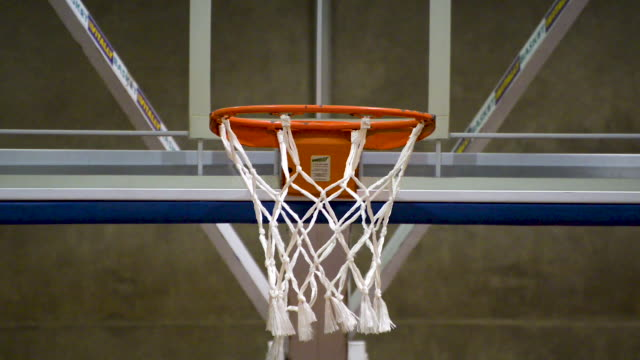 people training basketball free throw and not hitting. basketball net close up. flat plane. front view - errore video stock e b–roll