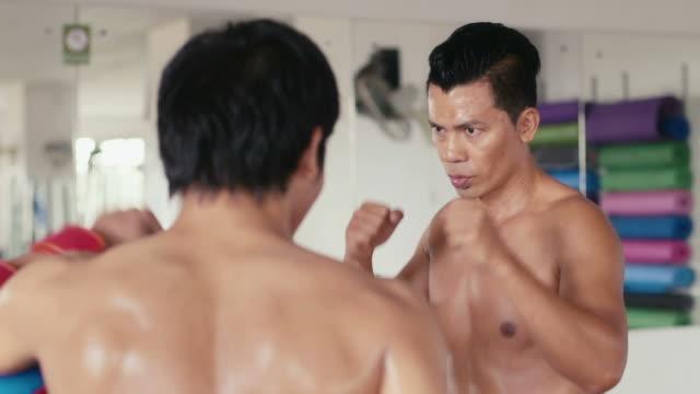 persone di formazione, l'esercizio di fitness club, palestra e sport, arti marziali - sparring allenamento video stock e b–roll