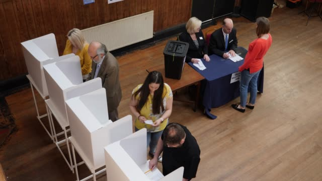 4K AERIAL: People voting in Polling booths at the Election - Voting at Polling Station