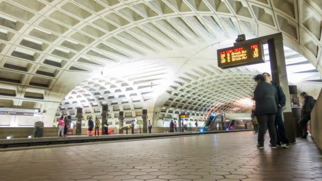 people waiting for train at Metro station Time-lapse of people waiting for train at Metro station in Washington DC subway station stock videos & royalty-free footage