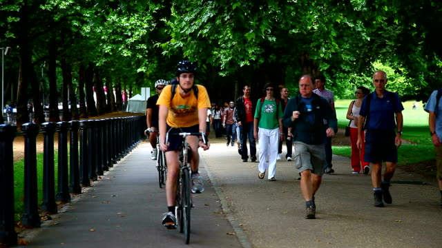 People Walking and Cycling in the Hyde Park, London video