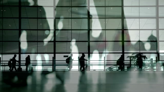People walking at airport video