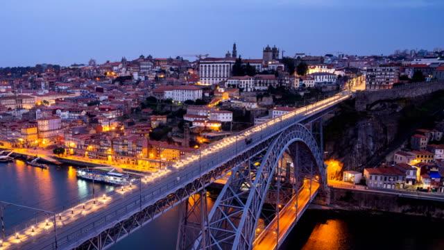 N2D T/L people walking at Dom Luís I Bridge, Porto, Portugal video