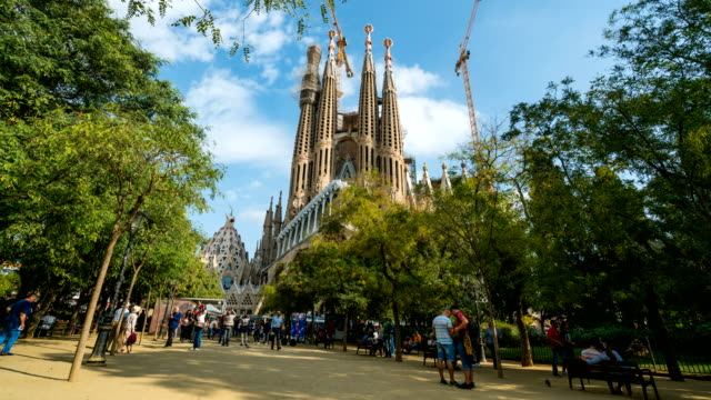 T/L People walking at Sagrada Família, Barcelona, Spain video
