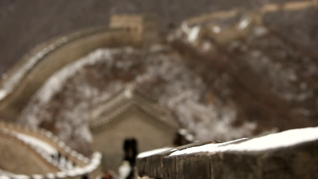 People Walking Down Great Wall of China video