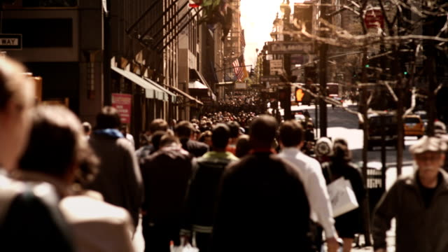 People walking in busy street. video