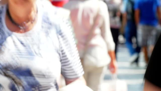 People Walking In Shopping Street Blurred Motion Shot video