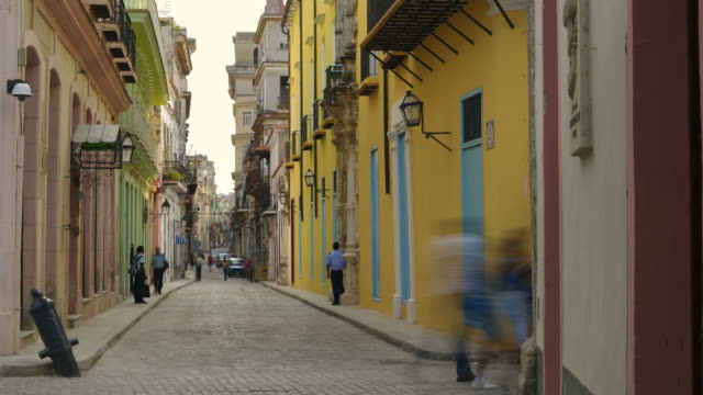 People walking in the streets of Old Havana, Cuba video