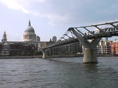 People walking over the Millennium Bridge video