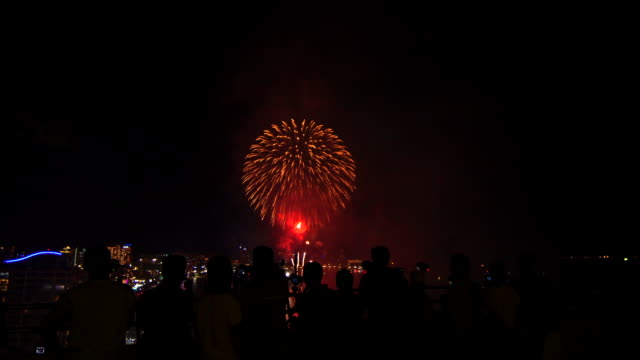 People Watch Fire Work On Sky Video of many people watch fire work on sky. 4K happy 4th of july videos stock videos & royalty-free footage