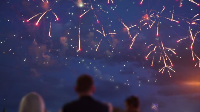 People Watching Fireworks Crowd of People Look at the Fireworks at Night in Slow Motion. The Concepts of Festivals and City Celebrations fireworks stock videos & royalty-free footage