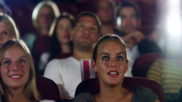 People watching movie video