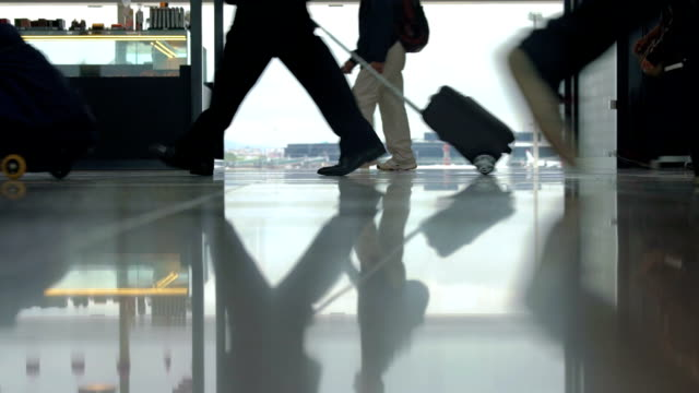 People With Luggage Passing By The Window In Airport video