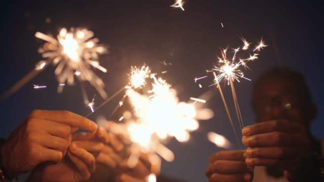 People with Sparklers Celebrating video