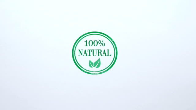 100 percent Natural seal stamped on blank paper background, food quality control
