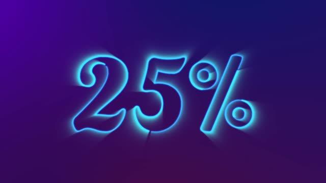 25 prozent neonglühnummern-animation enthüllt - zahl 25 stock-videos und b-roll-filmmaterial