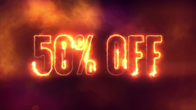 50 percent off burning text symbol in hot fire on black sale  background - black friday стоковые видео и кадры b-roll