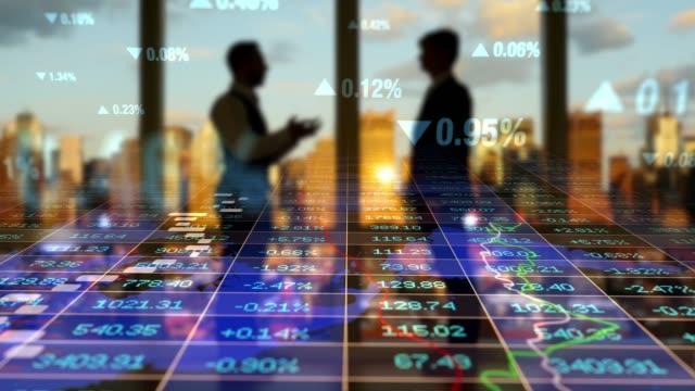 prozentsatz geschäft nummer gewinn und umsatz mit modernen stadt hintergrund - börsenhandel finanzberuf stock-videos und b-roll-filmmaterial