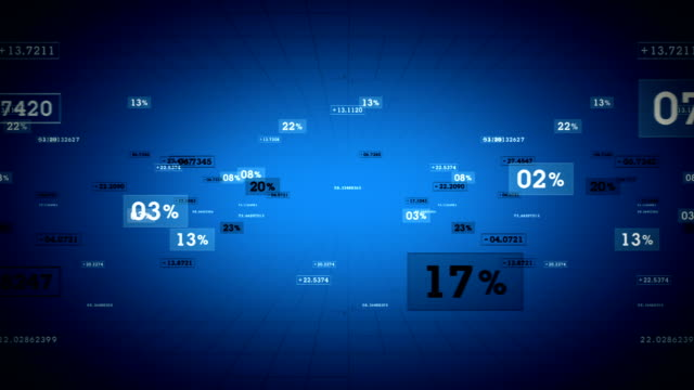 Percentages and Values Blue Tracking video