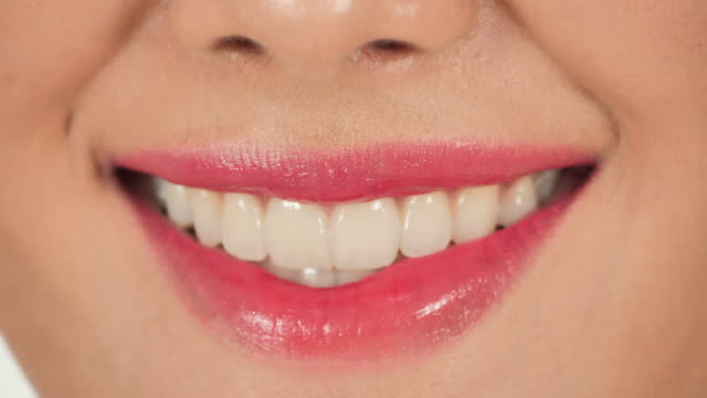 Perfect healthy teeth smile of asian young woman.Dental care, Dental clinic patient, Dentistry concept. video