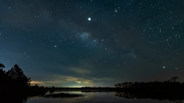perfect milky way over the lagoon. - summer background filmów i materiałów b-roll