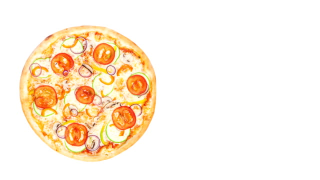 Perfect vegetarian pizza Rotating on a white background. Top view, place for text video