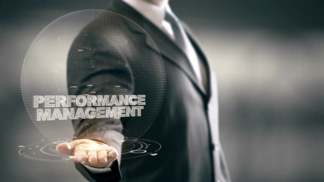 Performance Management with bulb hologram businessman concept