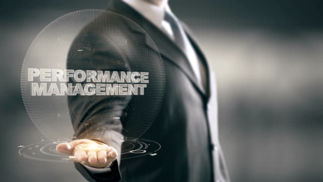 Performance Management with hologram businessman concept