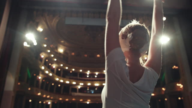 Performance On The Theater Stage. Beautiful Ballerina. Young Ballet Dancer Performing On Stage In A Large Theater. ballet dancer stock videos & royalty-free footage