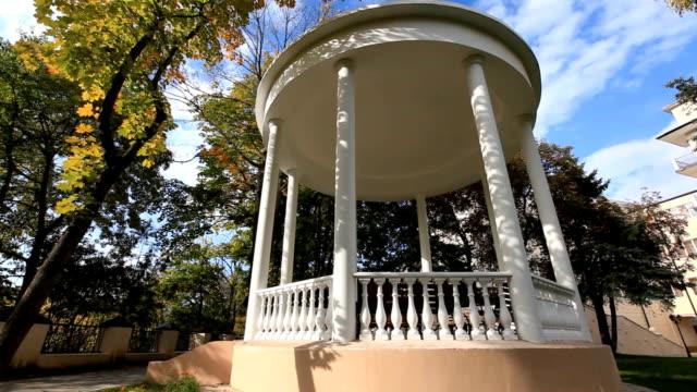 Pergola in the autumn park Pergola in the autumn park  victorian architecture stock videos & royalty-free footage
