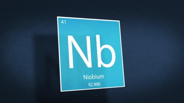 tavola periodica degli elementi serie animata cinematografica - element niobium che si libra nello spazio - elemento del design video stock e b–roll