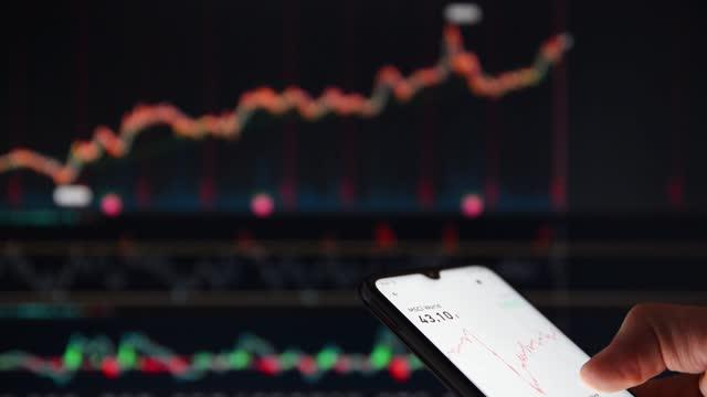 stockvideo's en b-roll-footage met persoon die de aandelenkoersen op een smartphone controleert voor een groot scherm markttarieven. persoon die aandeelprijzen op een smartphone met marktprijzen op een scherm op de achtergrond bekijkt. - bitcoin