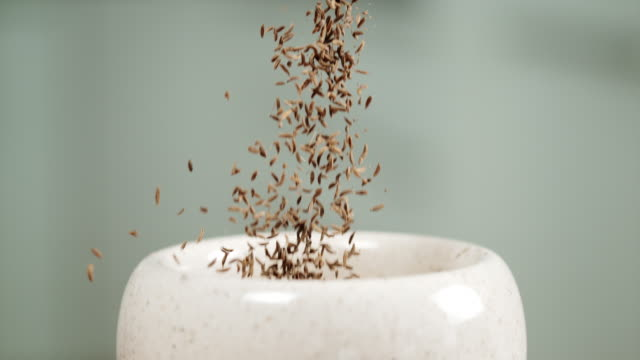 SLO MO Person dropping cumin seeds into a mortar Super slow motion shot of an unrecognizable person dropping cumin seeds into a mortar. mortar and pestle stock videos & royalty-free footage