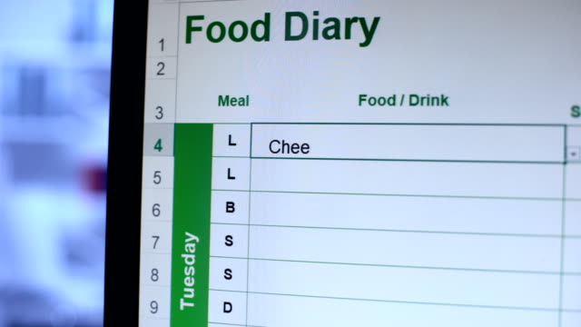 Person filling in online food diary writing meals and counting calories, dieting
