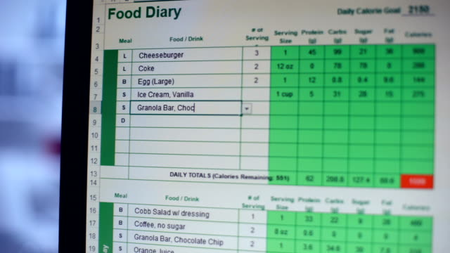 Person keeping online food diary, writing meals and calories, healthy dieting