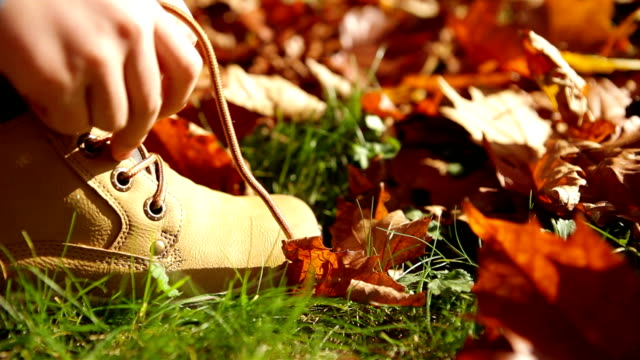 Person laces up the shoelaces in autumn video