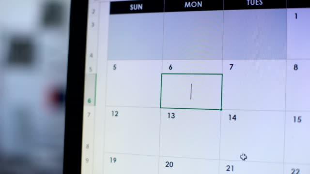 Person planning go on diet, scheduling some days in online calendar on computer