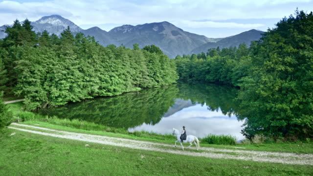 aerial person riding white horse on a path around lake - attività equestre ricreativa video stock e b–roll