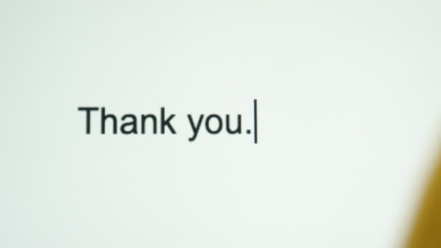 "A Person Types ""Thank you"" on Their Computer Screen A Person Types ""Thank you"" on Their Computer Screen thank you stock videos & royalty-free footage"