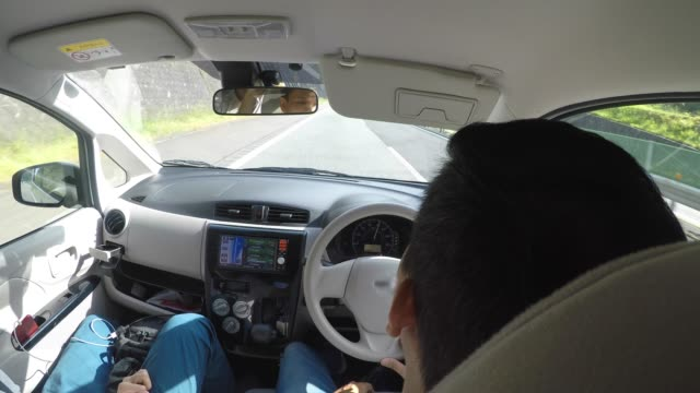 Person using navigation gps in car to travel to destination