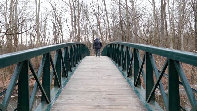 Person walking over foot bridge and pausing to look over side